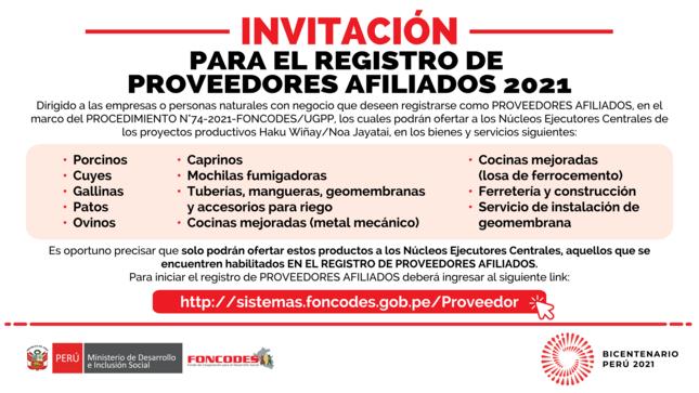 Invitación para el Registro de Proveedores Afiliados 2021