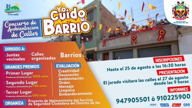 """Concurso de Ambientación de Calles """"YO CUIDO MI BARRIO"""" 👮"""