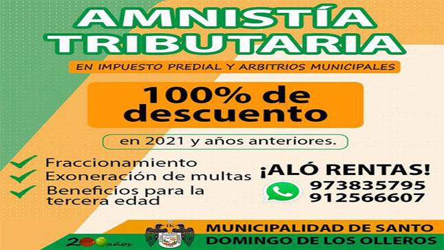Amnistía Tributaria MDSDO