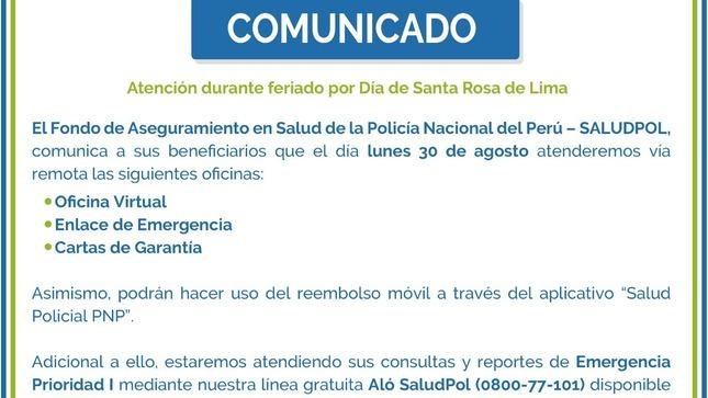 Atención durante feriado por Día de Santa Rosa de Lima