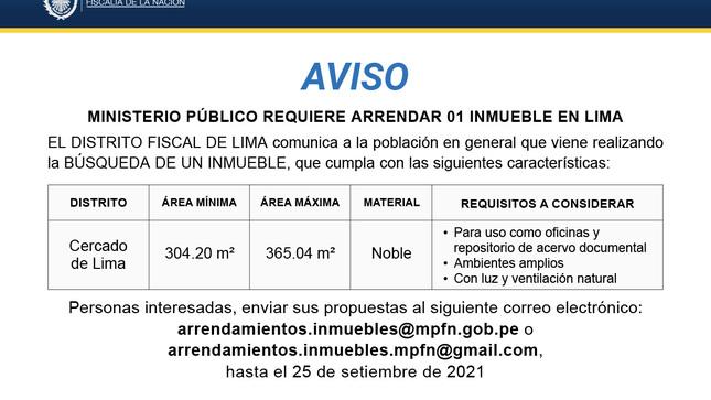 Aviso : Arrendamiento de inmueble :  Lima