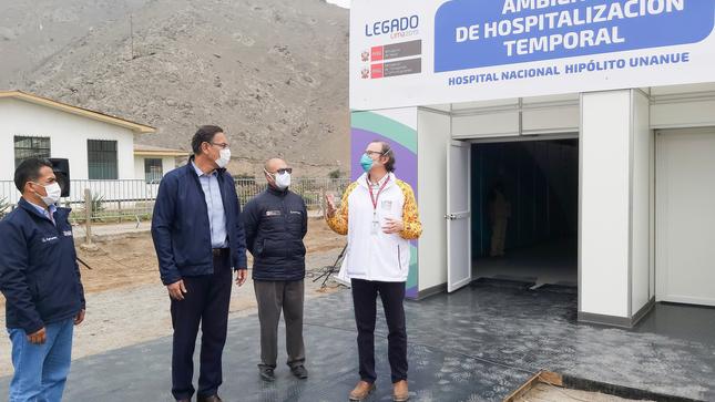 Presidente de la República Visita Culminación de Trabajos de Ambiente de Hospitalización Temporal Para Pacientes Covid-19 en Hospital Nacional Hipólito Unanue