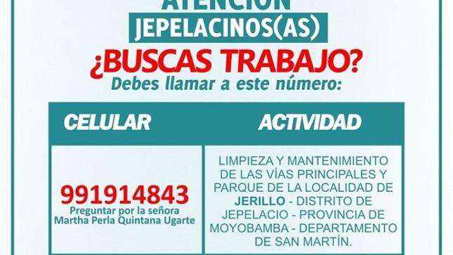 En el distrito de Jepelacio aproximadamente 155 personas se beneficiarán, gracias al Programa Trabaja Perú