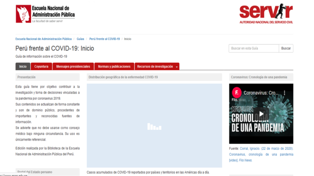"""SERVIR PRESENTA PRIMERA GUÍA INFORMATIVA: """"PERÚ FRENTE AL COVID -19"""""""