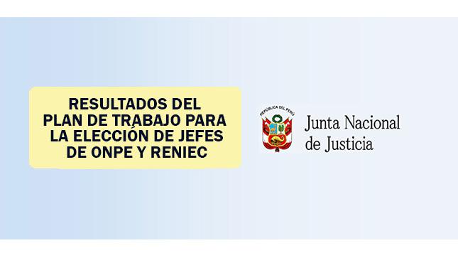 Resultados de la evaluación del Plan de Trabajo para la Convocatoria de jefes de ONPE y RENIEC