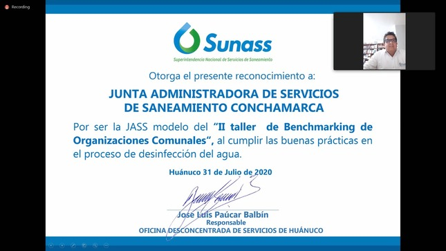 Huánuco: Sunass reconoce a JASS de Conchamarca por buenas prácticas de saneamiento rural