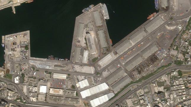 Satélite PerúSAT-1 muestra imágenes del puerto de Beirut luego de la explosión