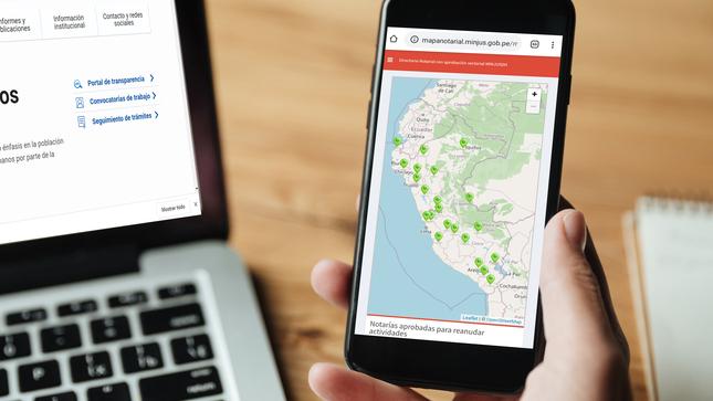 MINJUSDH presenta el Mapa del Sistema Notarial del Perú que  registra información de las notarías habilitadas en todo el país