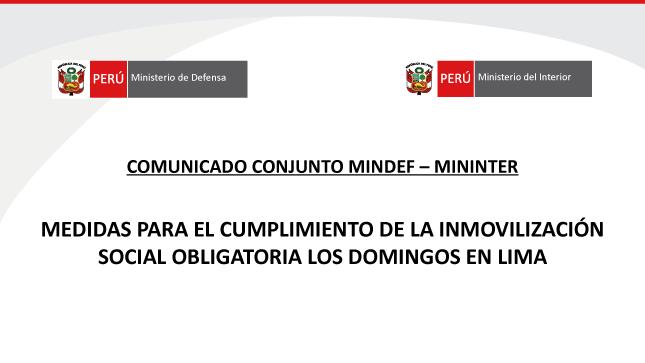 Medidas para el cumplimiento de la Inmovilización Social Obligatoria los domingos en Lima