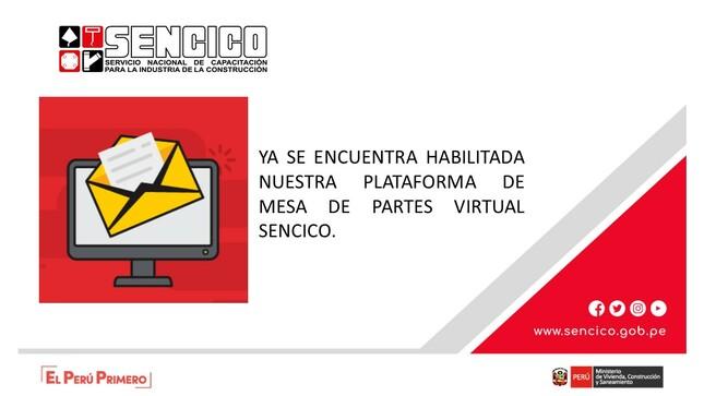 COMUNICADO: PLATAFORMA DE MESA DE PARTES VIRTUAL SENCICO