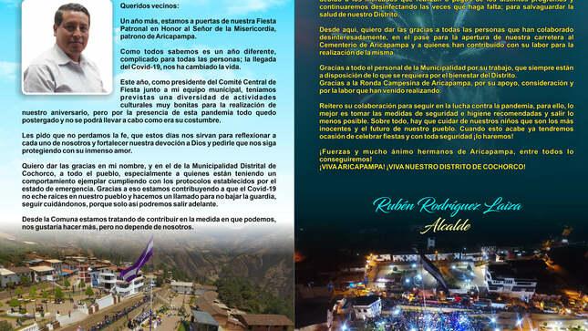 FELIZ ANIVERSARIO SEÑOR DE LA MISERICORDIA, PATRONO DE ARICAPAMPA