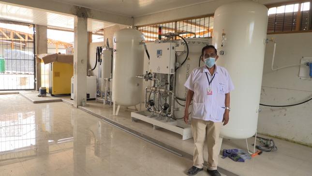 """Planta de oxígeno del hospital Covid """"Santa Rosa"""" de Puerto Maldonado financiada por el gobierno regional se encuentra en etapa de instalación"""