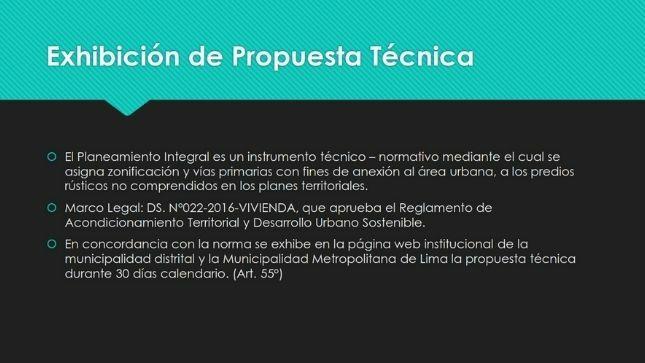 EXHIBICIÓN PÚBLICA DE LA PROPUESTA DE PLANEAMIENTO INTEGRAL LAGUNAS DEL PERÚ - DISTRITO DE SAN BARTOLO