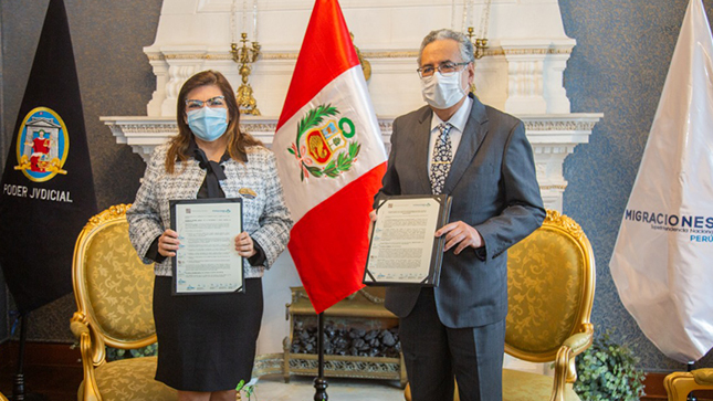 MIGRACIONES y Poder Judicial firman convenio de cooperación interinstitucional