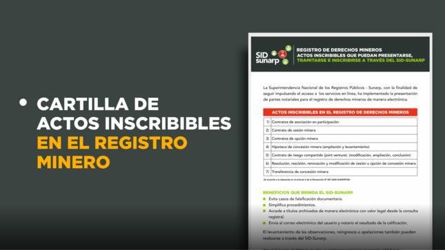 Sunarp digitaliza trámites para la inscripción de actos en el registro de derechos mineros