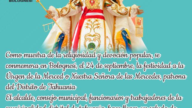 Virgen de las Mercedes, Patrona del Distrito de Tahuania.