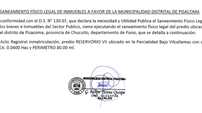 SANEAMIENTO FÍSICO LEGAL DE INMUEBLES
