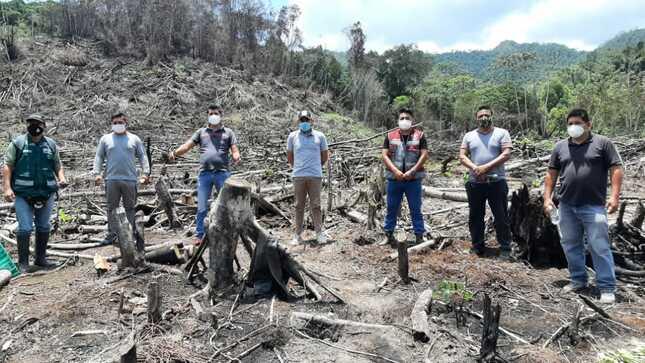 Equipo de Contingencia de Defensa Civil, SERFOR y PNP llegaron al Caserío La Victoria ante reporte de Incendio forestal