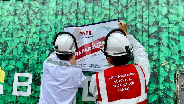 Obra de San Borja fue paralizada por la SUNAFIL al exponer a 23 trabajadores a riesgos graves e inminentes