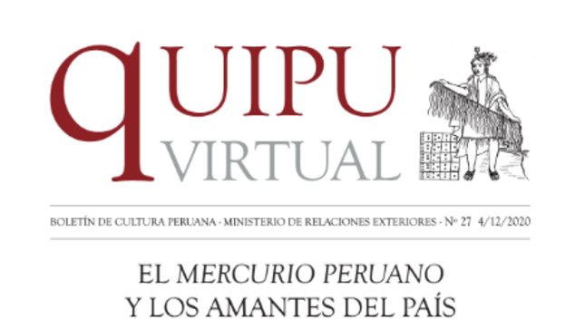 "Vigésimo sétimo del boletín cultural ""Quipu Virtual""."