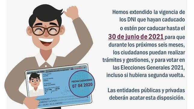 RENIEC amplia vigencia de los Documentos Nacionales de Identidad (DNI)