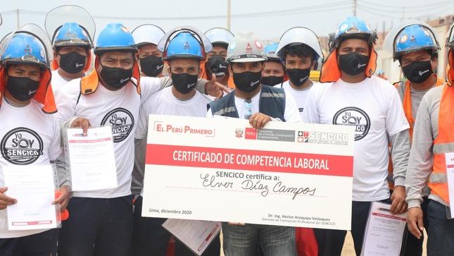 SENCICO entregó Certificados de Competencias  Laborales a 78 trabajadores de la PTAR Pachacútec