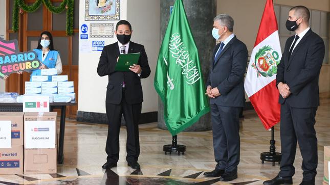 Ministerio del Interior recibe donación de equipos de bioseguridad del Reino de Arabia Saudita