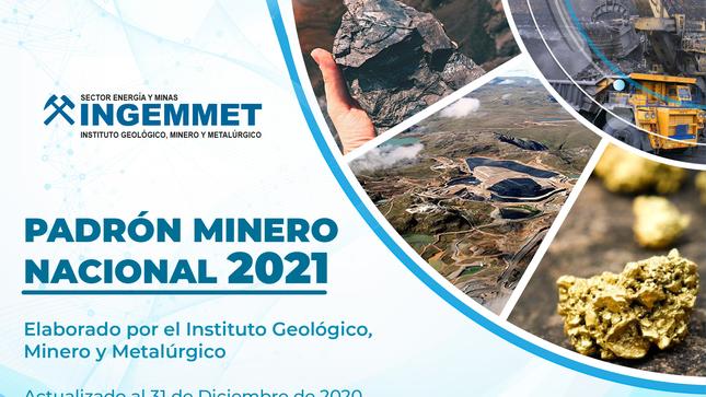 Ingemmet publicó el Padrón Minero Nacional 2021