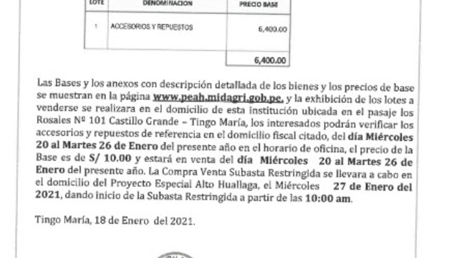 Compra Venta Subasta Restringida Nº001-2021