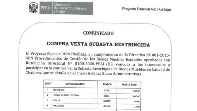 Compra Venta Subasta Restringida Nº002-2021