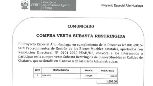 Compra Venta Subasta Restringida Nº003-2021