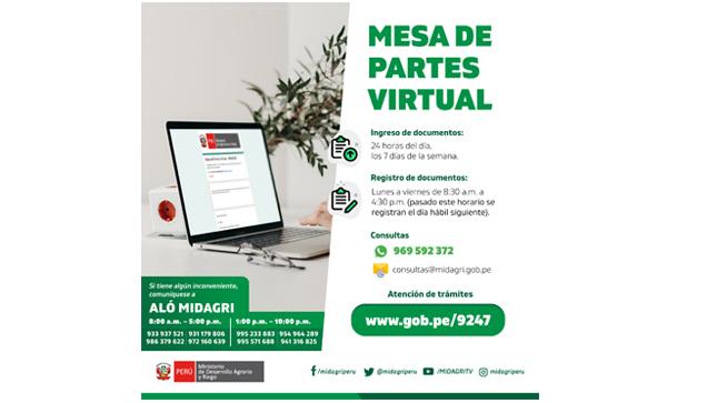 Comunicado de atención por Mesa de Partes Virtual