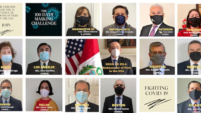 Embajada del Peru y sus 13 misiones consulares en EE.UU. participan activamente en el 100 Days Masking Challenge del presidente Joseph Biden