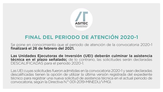 ASITEC: Final del Periodo de atención 2020-1