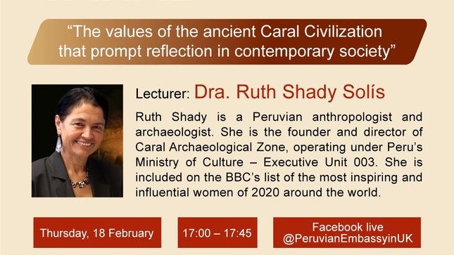 """Nota Informativa Nro.13-2021 Conferencia de la Dra. Ruth Shady sobre la """"Civilización Caral"""""""