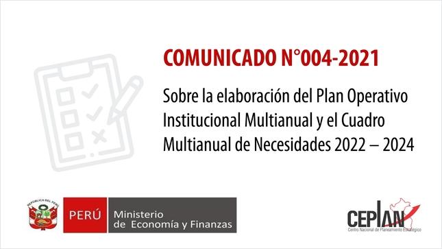 Comunicado 004-2021/CEPLAN