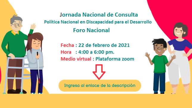 Conadis realizará Jornada Nacional de Consulta de la Política Nacional en Discapacidad para el Desarrollo