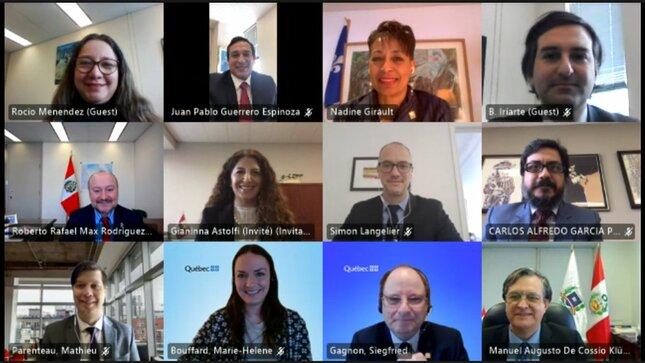 Reunión de trabajo virtual con la Ministra de Relaciones Internacionales y de la Francofonía de la provincia de Quebec