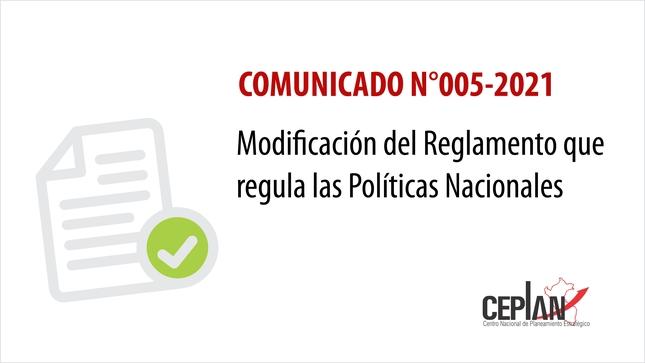 Comunicado 005-2021/CEPLAN