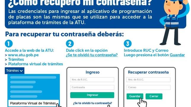 Conoce cómo recuperar tu contraseña para hacer tus trámites en la plataforma virtual de la ATU