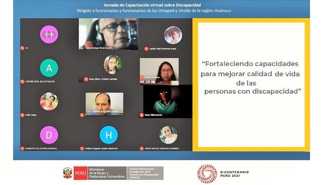 Funcionarios y funcionarias de la región Huánuco fueron capacitados en materia de discapacidad