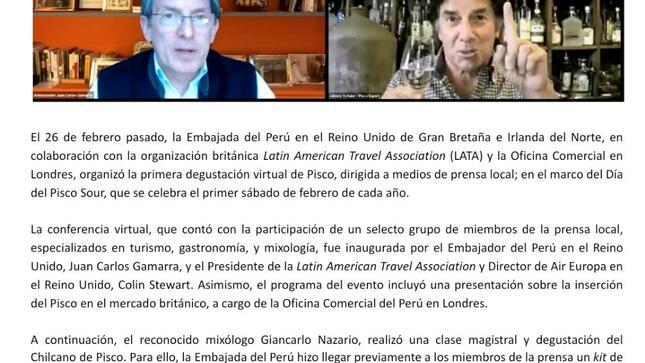 Embajada del Perú organiza degustación virtual de Pisco dirigida a medios de prensa especializada en el Reino Unido