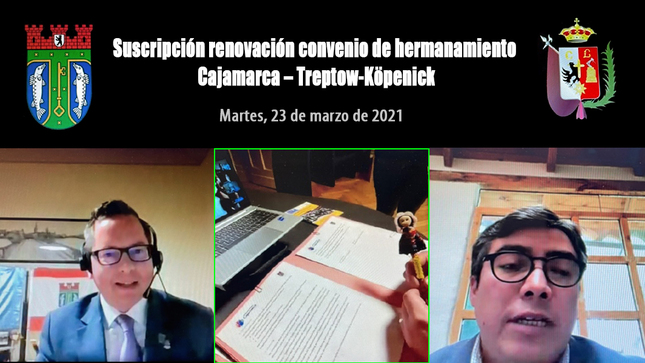 Municipalidades de Cajamarca y el distrito de Treptow-Köpenick en Berlín, renovaron convenio de hermanamiento