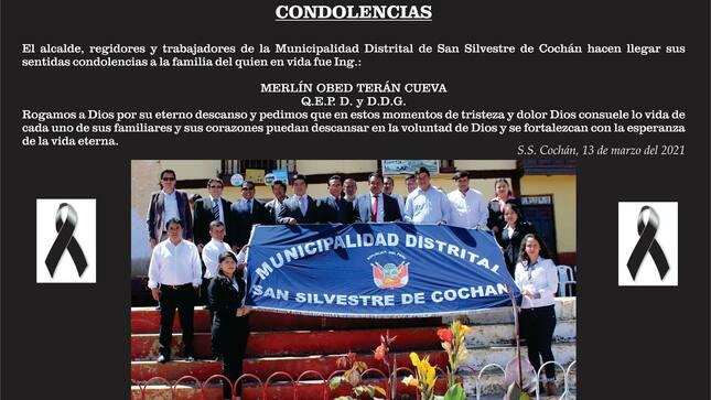 Sentidas condolencias a los familiares del Ing. MERLÍN OBED TERÁN CUEVA.