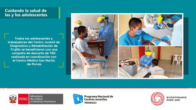 Adolescentes del Centro Juvenil de Trujillo se benefician con campaña de descarte de TBC