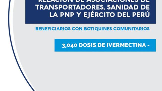 Relación de asociaciones de transportadores, sanidad de la PNP y Ejército del Perú