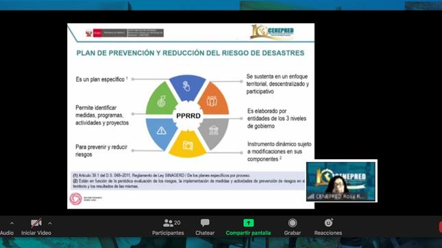 Cenepred facilitó un curso virtual sobre la Gestión del Riesgo de Desastres en el contexto de la COVID-19