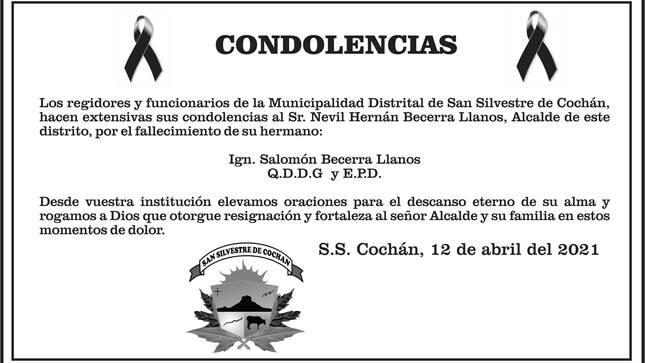 Condolencias al señor Nevil Hernán Becerra Llanos, Alcalde de nuestro distrito, por el fallecimiento de su hermano