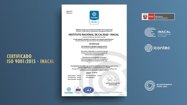 Inacal mantiene certificación ISO 9001 hasta el año 2024