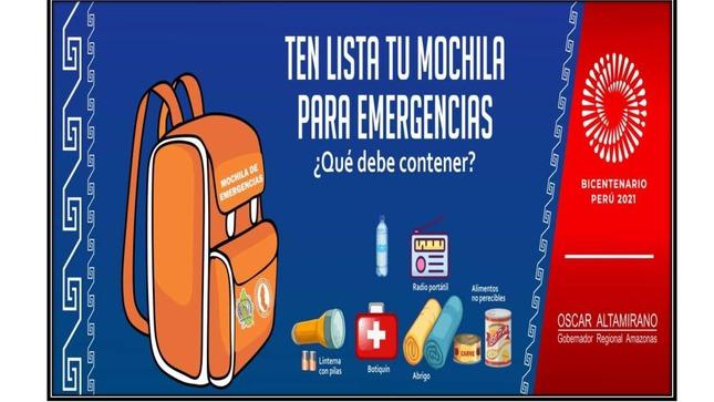 Atención!!! Ante la ocurrencia de una emergencia y/o desastre, utiliza tu Mochila de Emergencia. Una recomendación de DENAGERD.
